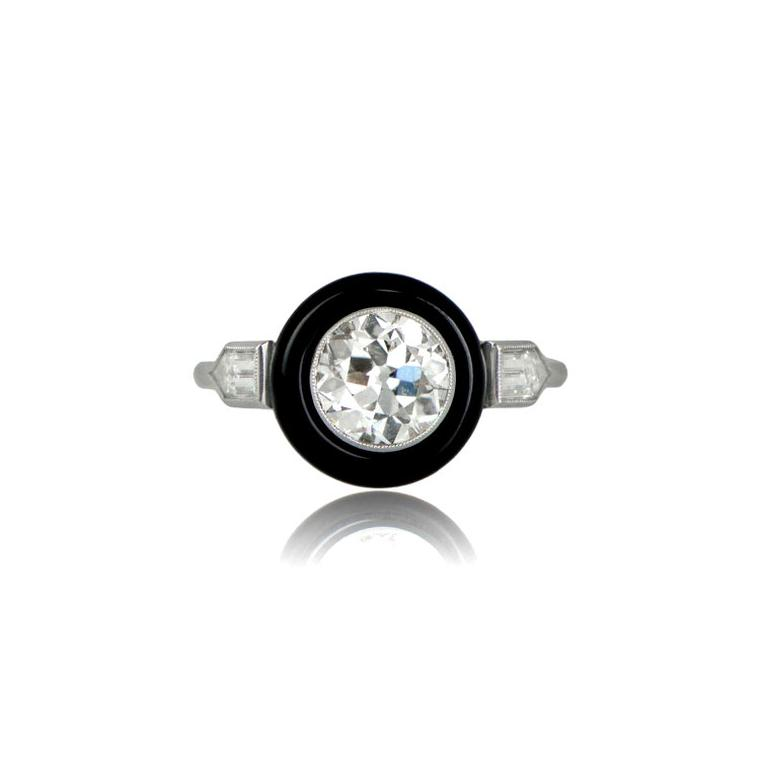 Estate Diamond Jewelry onyx ring