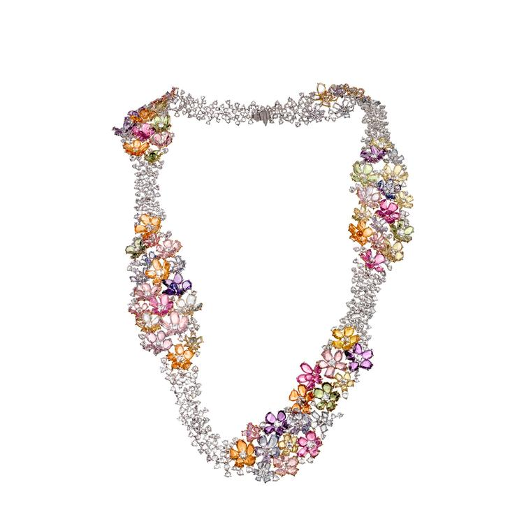 Garden of Babylon diamond and multicoloured sapphire necklace