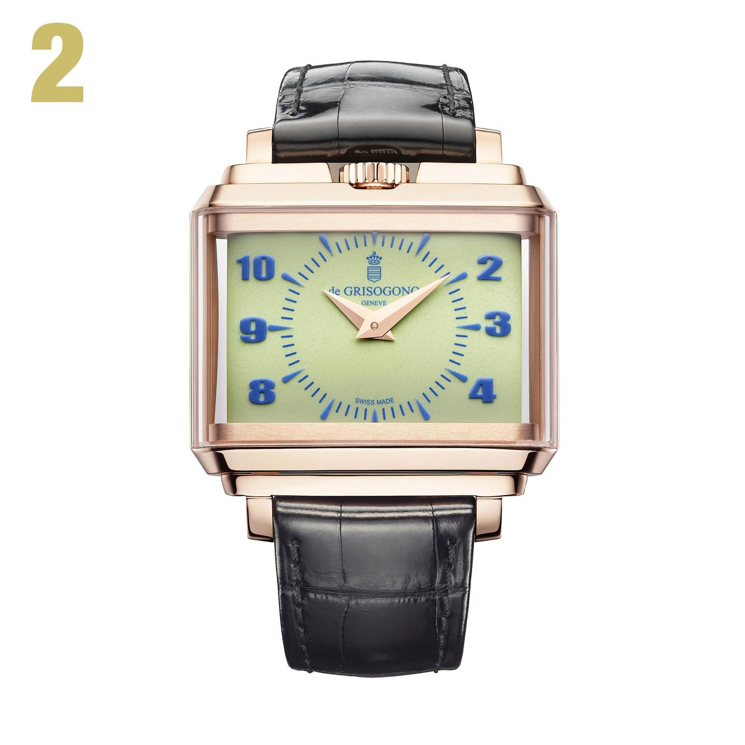 2 De Grisogono New Retro N01in rose gold with green dial watch