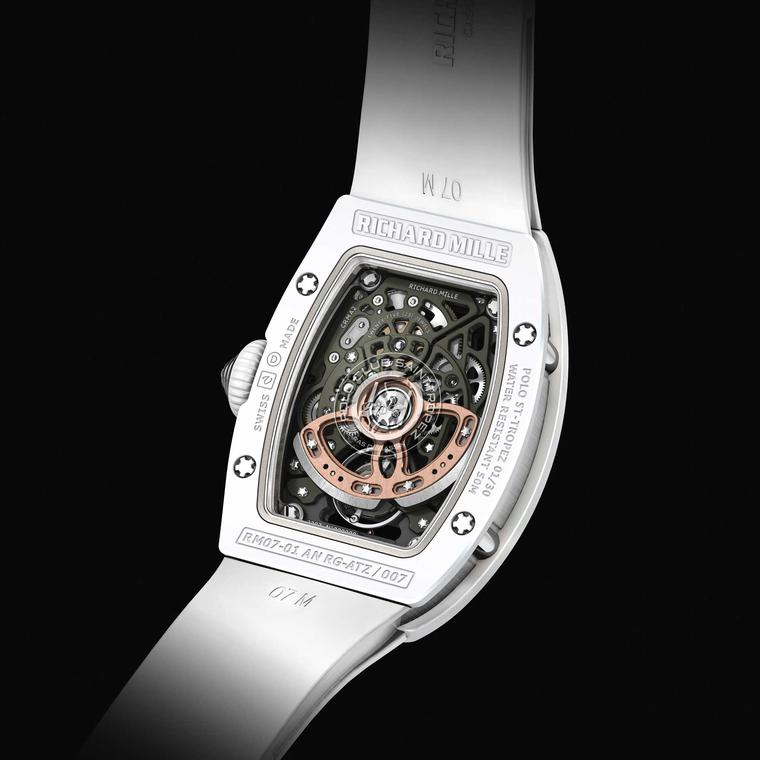 Richard Mille Polo Club Saint-Tropez RM 07-01 ladies' watch in white - back
