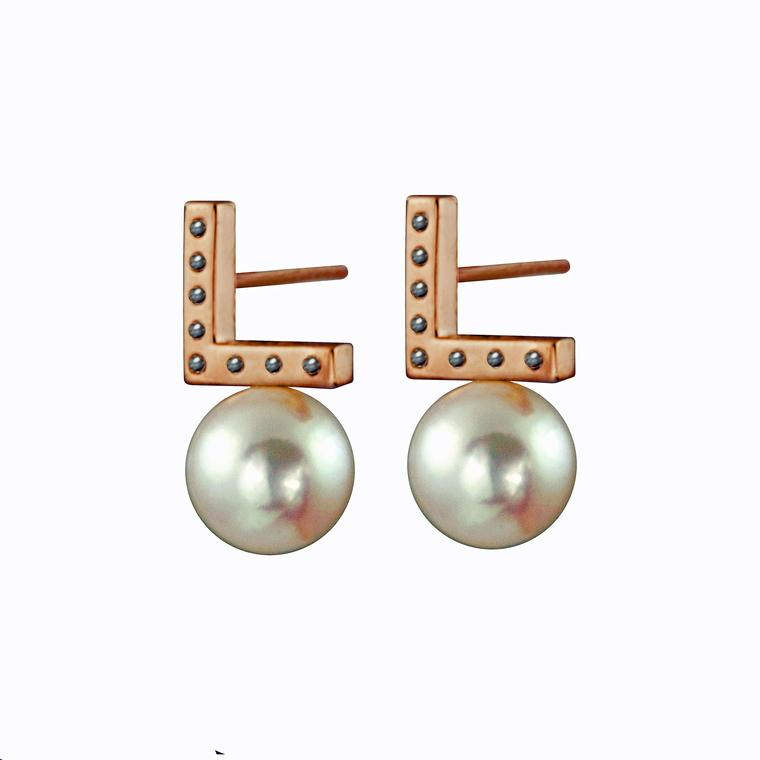 Kattri Asymmetry collection rose gold stud earrings