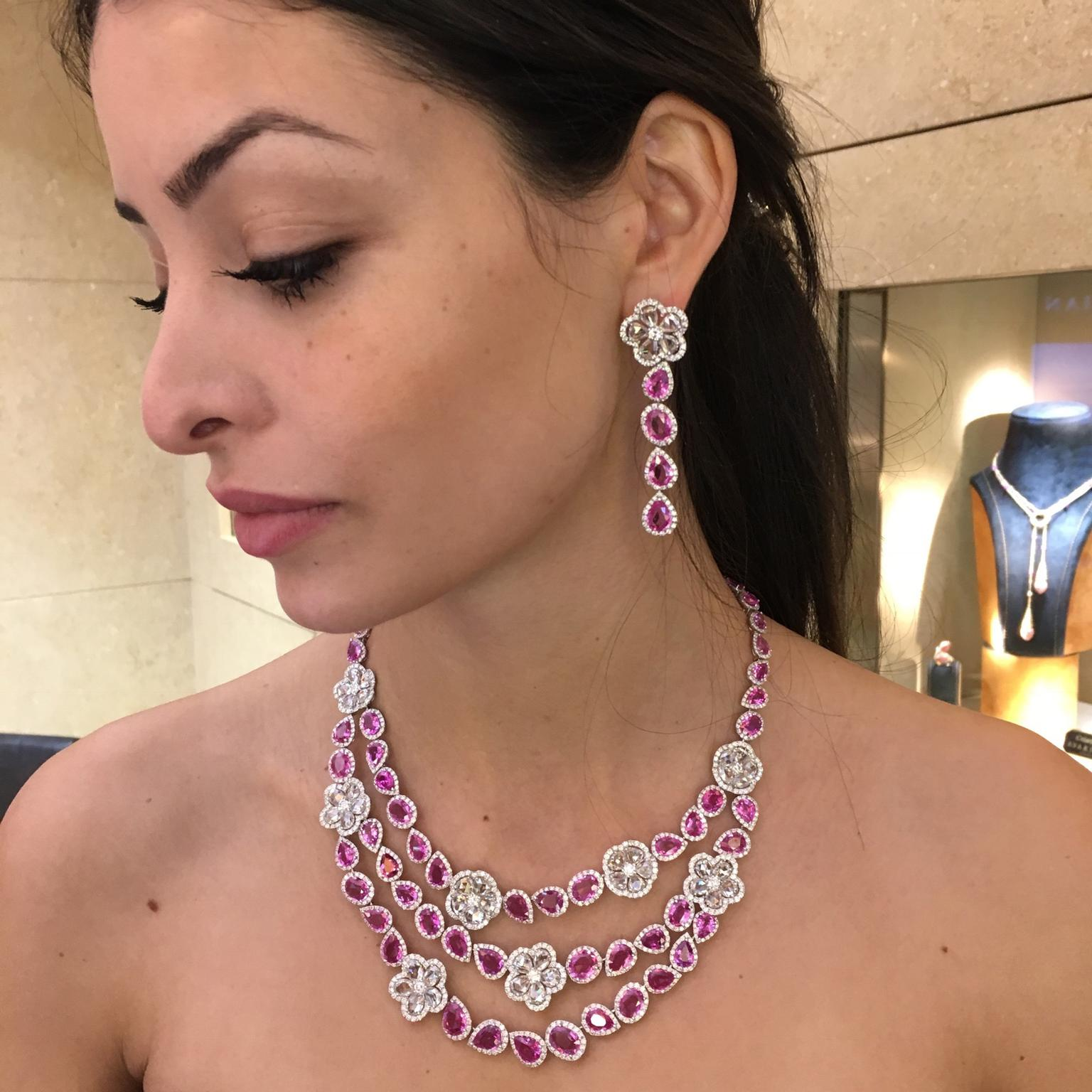 Avakian Pink sapphire earring and necklace set