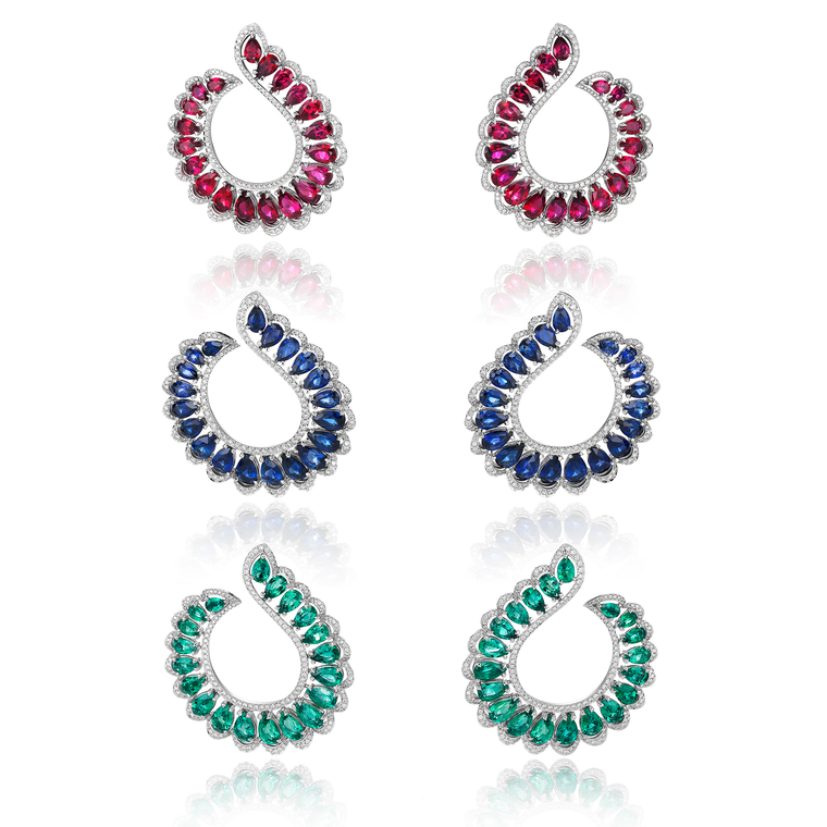 Chopard Precious earrings set with rubies, sapphires and emeralds