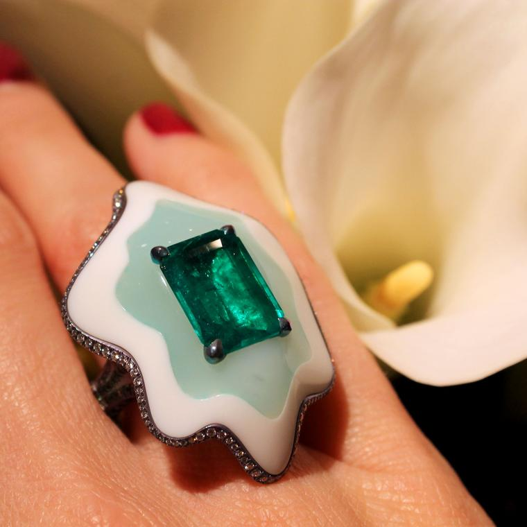 Arunashi Colombian emerald and opal ring as seen at Las Vegas Couture 2017