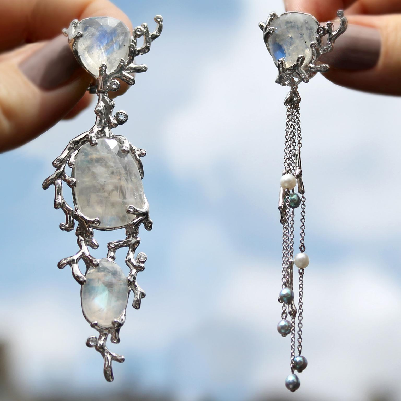 AENEA Alaria interchangeable moonstone and akoya pearl earrings