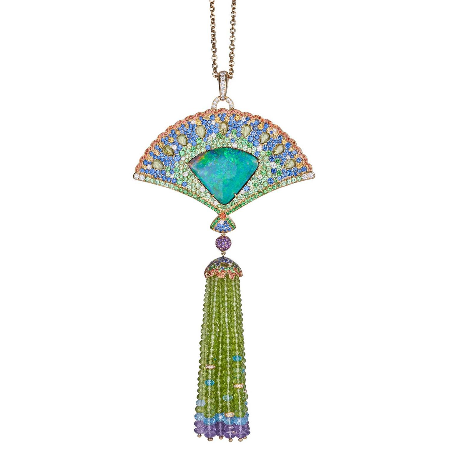 Margot McKinney Australian opal and multi-coloured gemstone pendant necklace