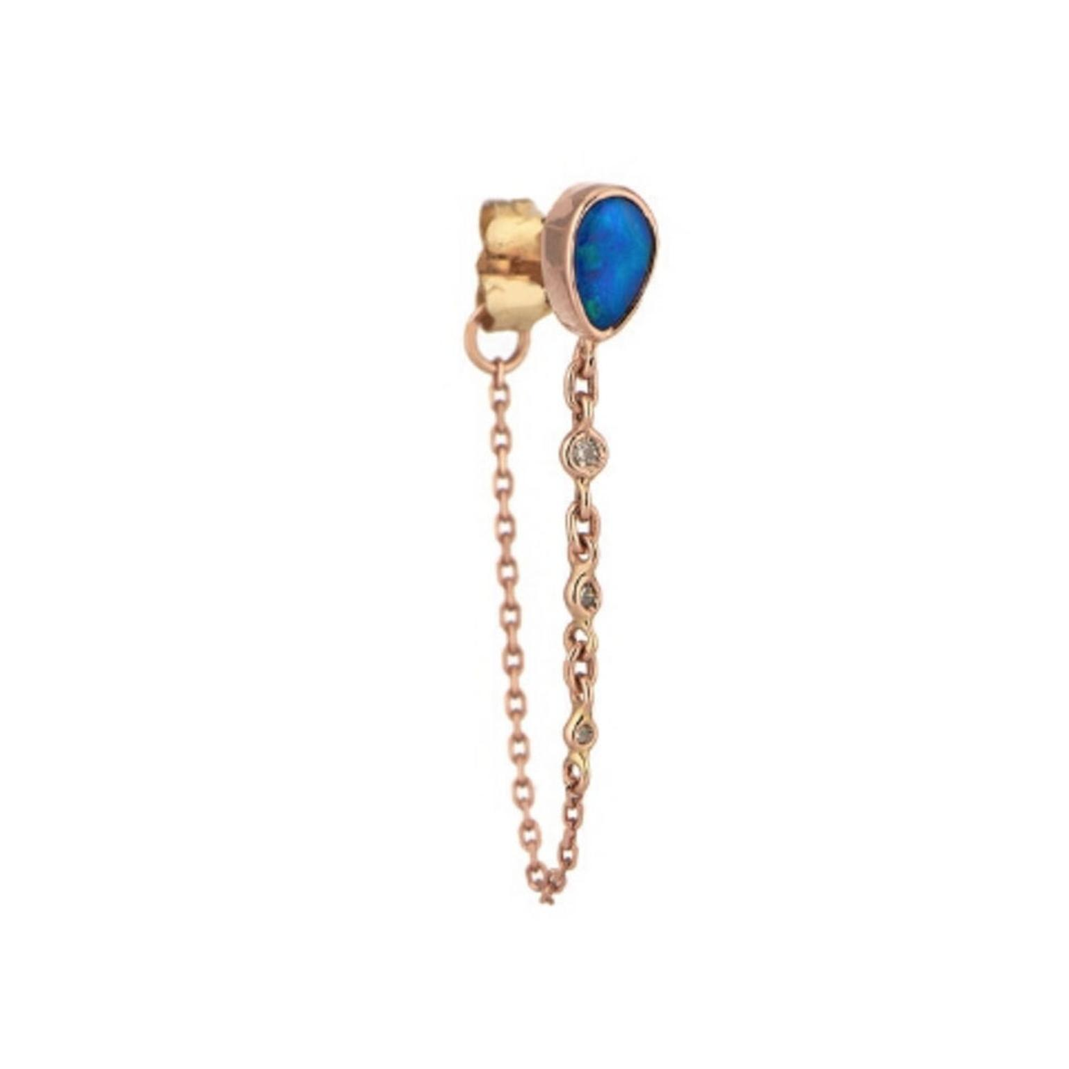 Celine d'Aoust single pearl, opal and diamond chain earring