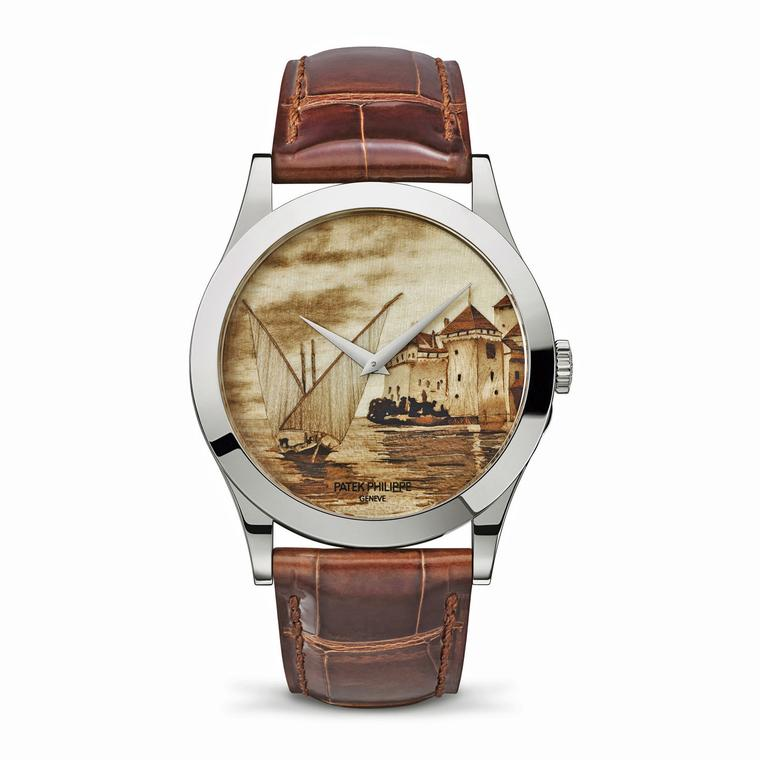Patek Philippe Lakeside Scenes wood marquetry dial watch