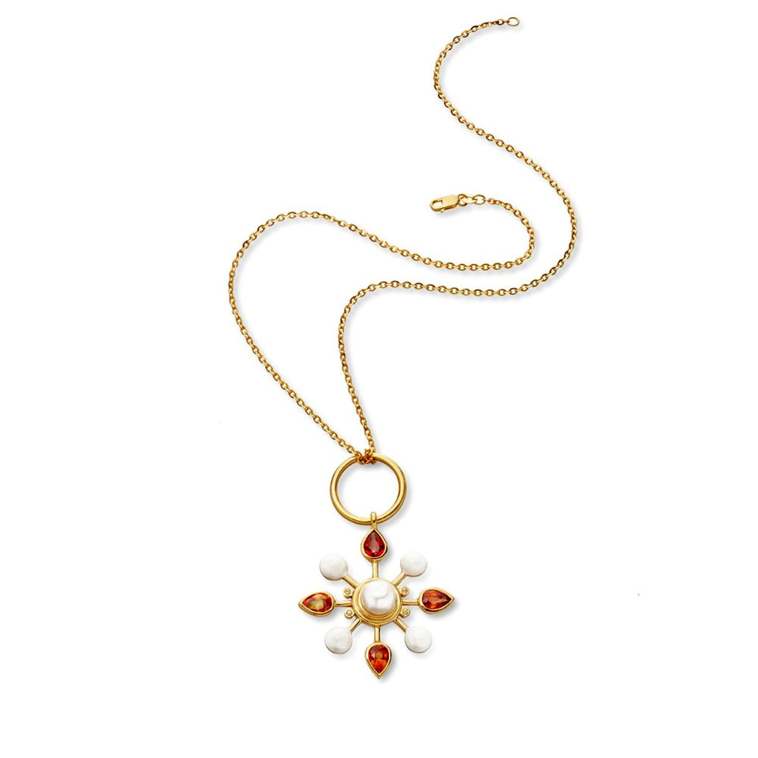 Colourburst pearl and orange sapphire pendant stenmark the stenmark pearl and orange sapphire pendant aloadofball Gallery
