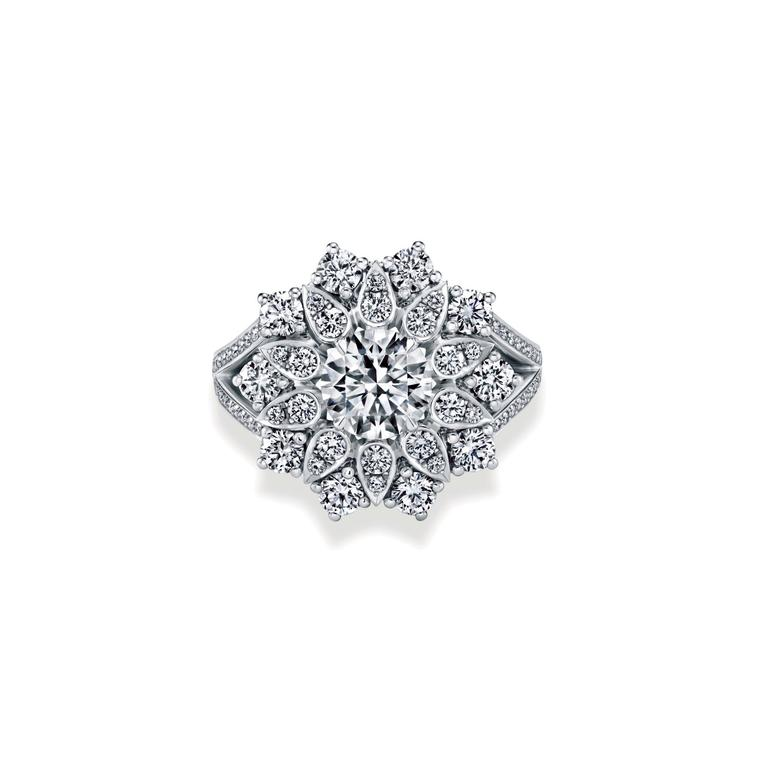 Harry Winston Lotus cluster diamond ring