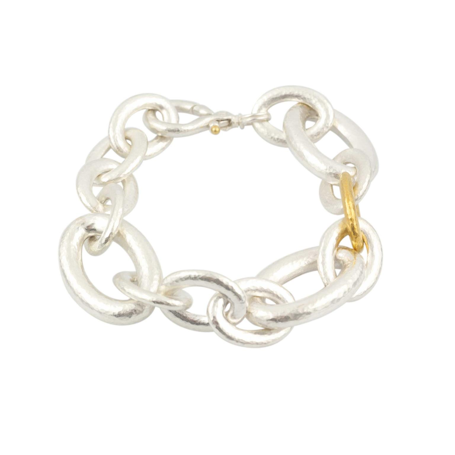 Gurhan Galahad Mixed Size Oval Bracelet in Sterling Silver Layered with 24ct Gold