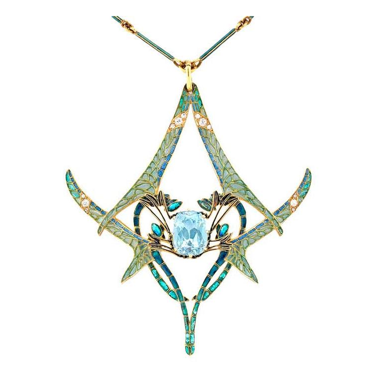 Bentley & Skinner René Lalique dragonfly pendant with aquamarine and diamonds