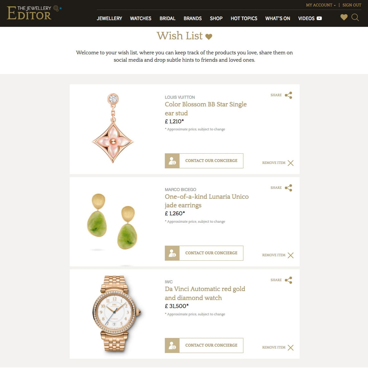 Jewellery and watch wish list on The Jewellery Editor