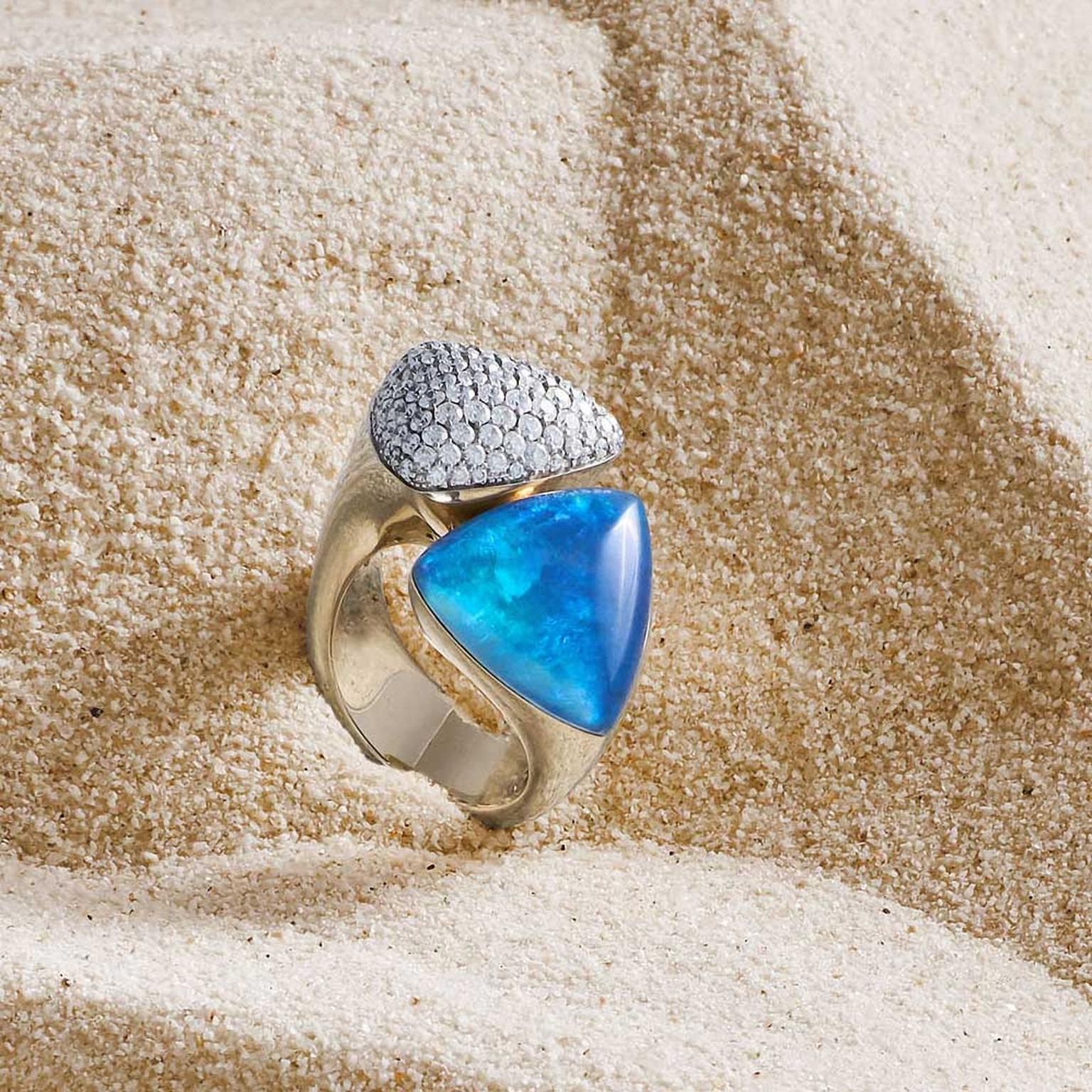 Vhernier Freccia ring with imperial opal, black jade and carved rock crystal. Photo credit: Erdna