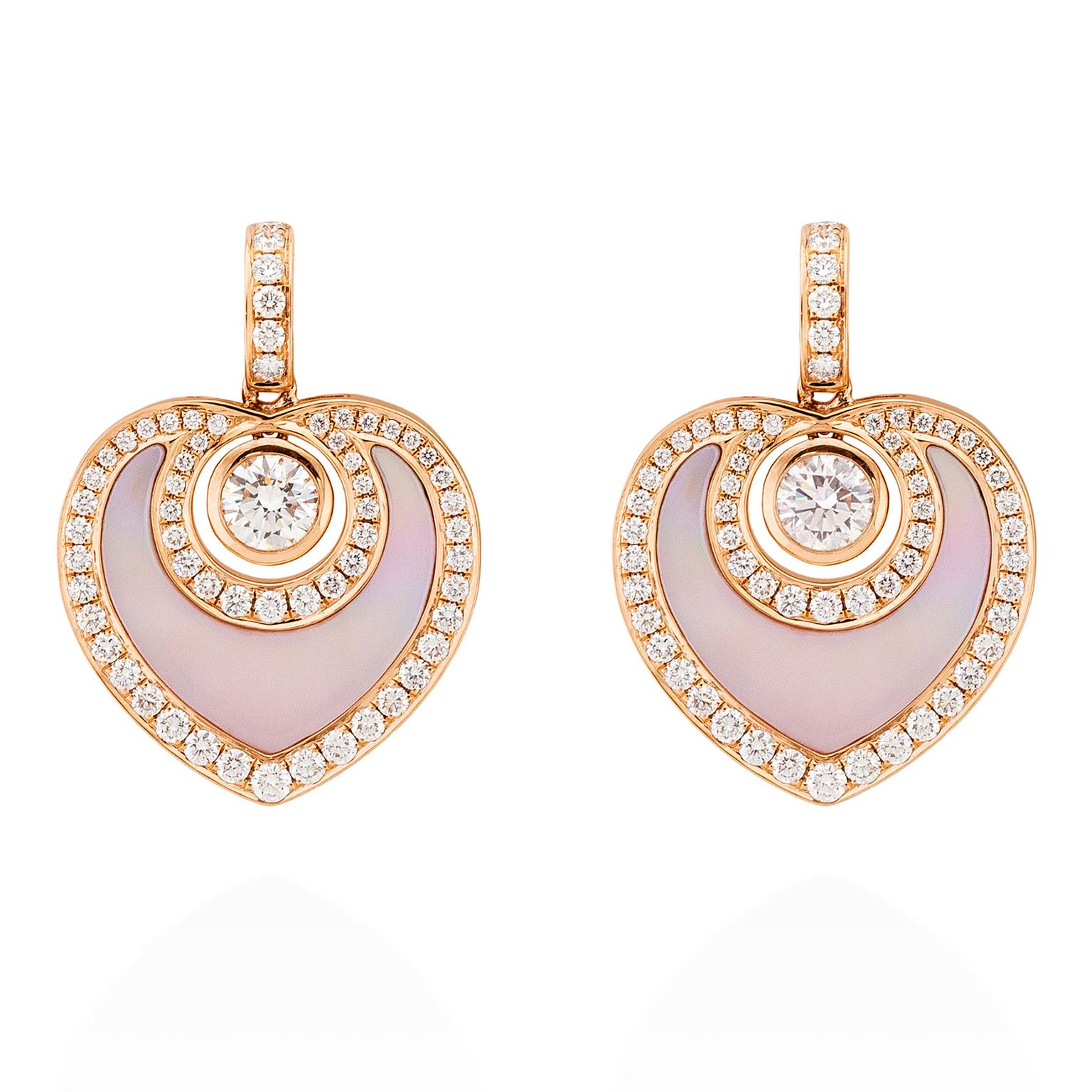 Boodles Sophie rose gold, diamond and mother-of-pearl earrings