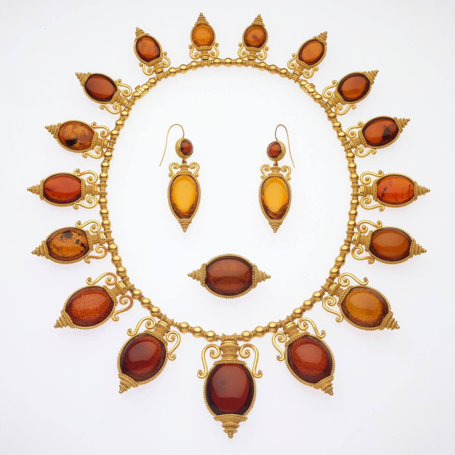 Castellani necklace, brooch and earrings in the archaeological revival style, circa 1880
