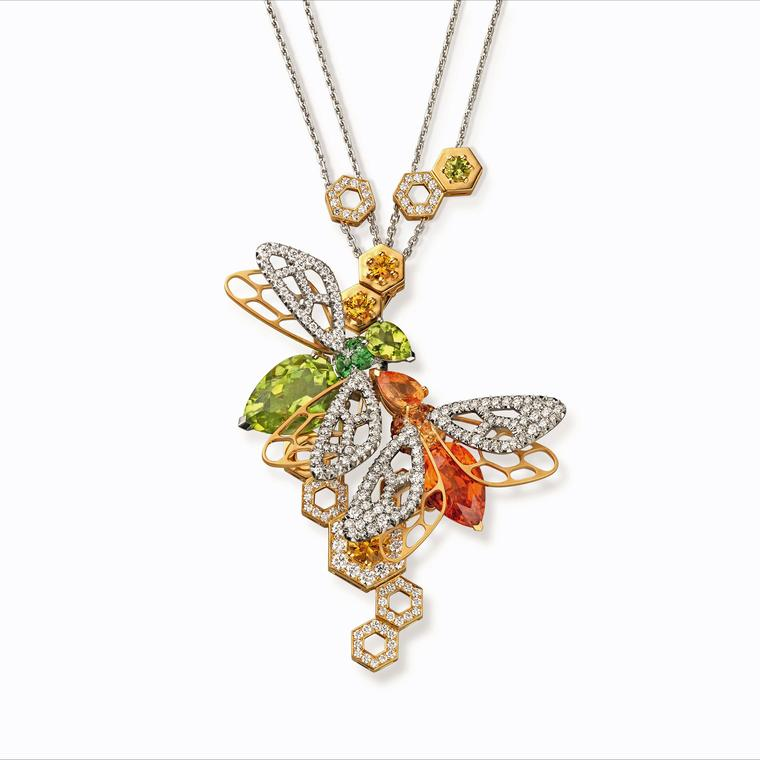 Chaumet Abeille Mandarin garnet and peridot necklace