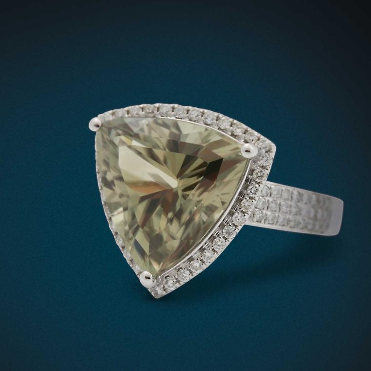David Jerome Collection sparkling champagne-coloured Zultanite and diamond-set ring