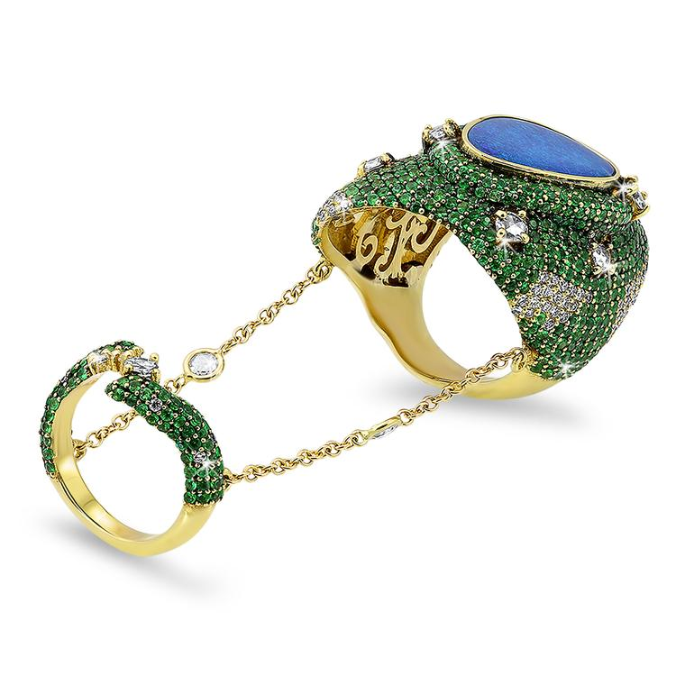 Giovane black opal chain ring with tsavorites