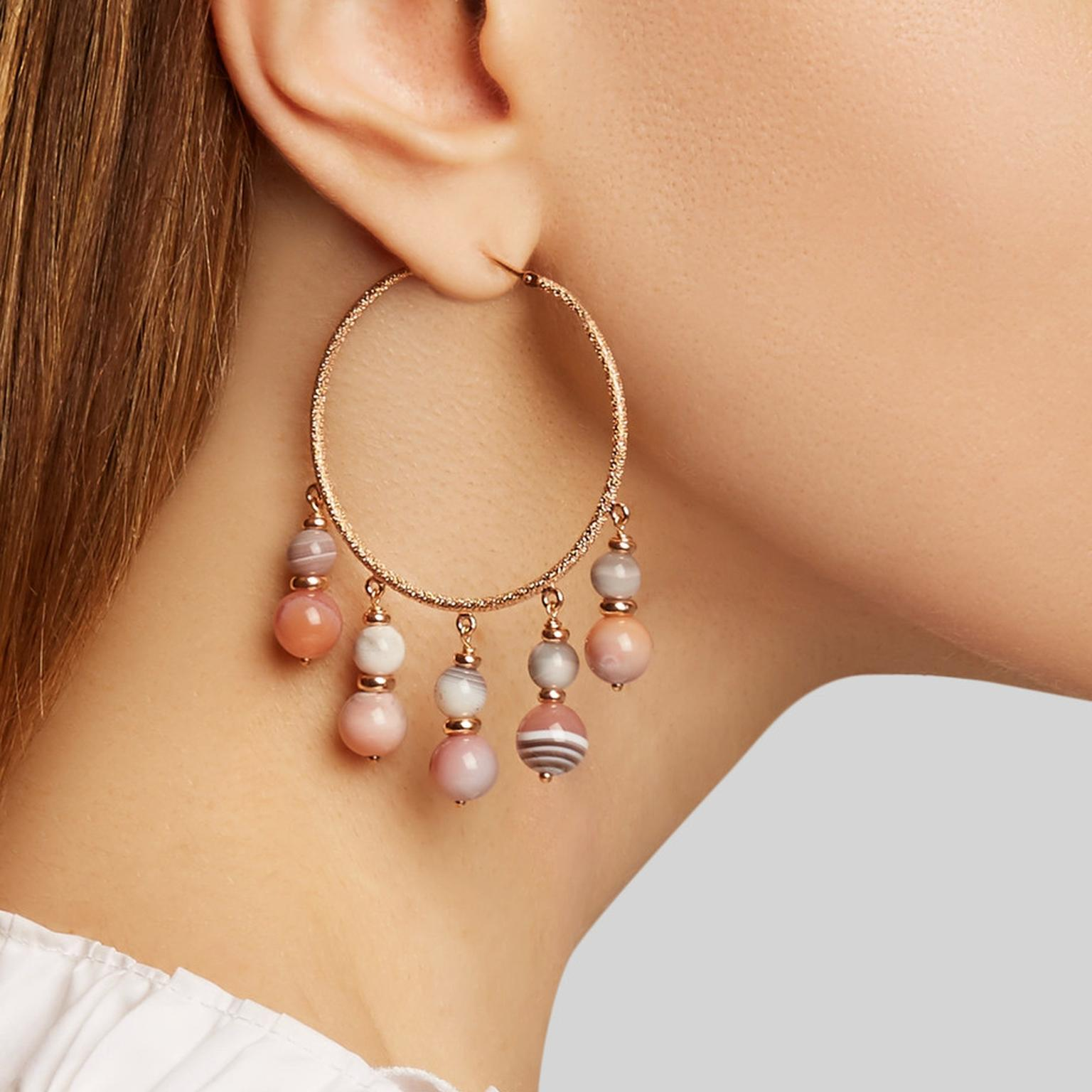 Carolina Bucci recharmed rose gold and agate hoop earring