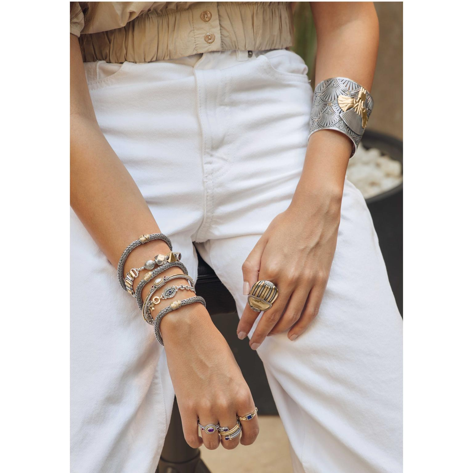 Pharaonic Revival Bracelets and Rings Stack