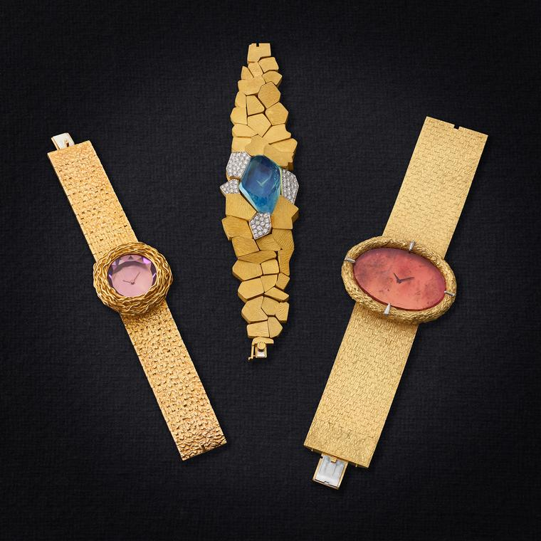 Three gold watches circa 1970 by Andrew Grima
