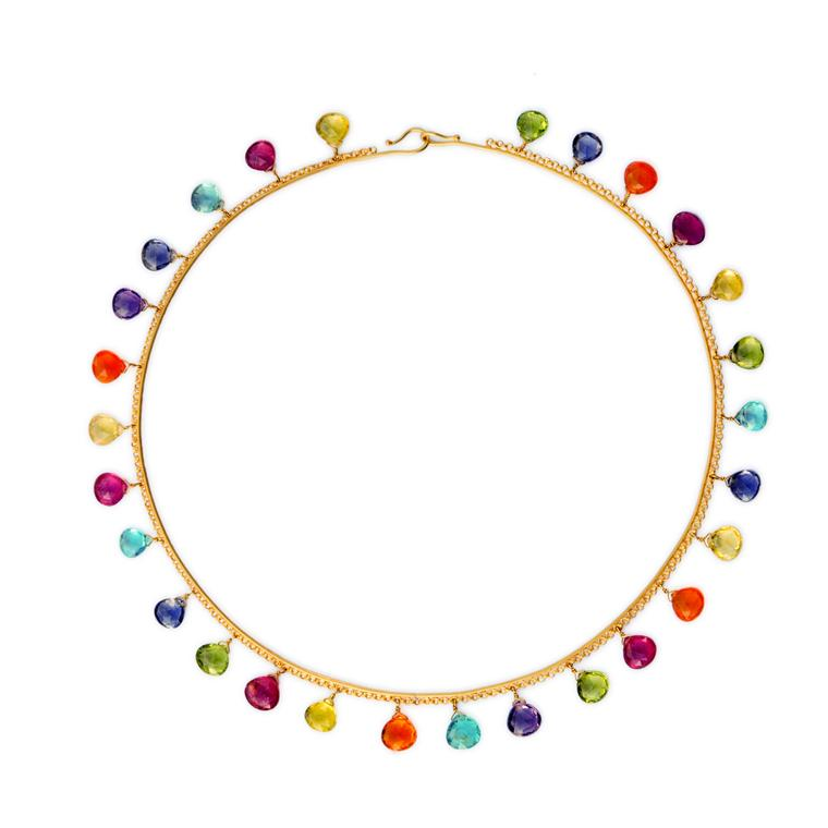 Multicolor briolette gemstone necklace in yellow gold