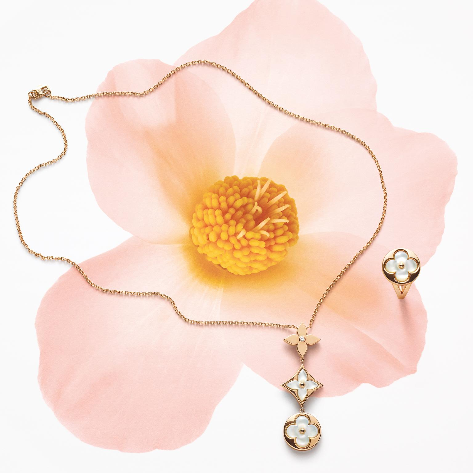 Louis Vuitton Blossom collection necklace and ring