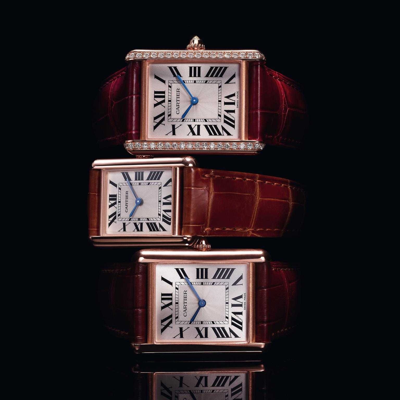 The Tank Louis Cartier is revisited in pink gold cases with the option of diamonds
