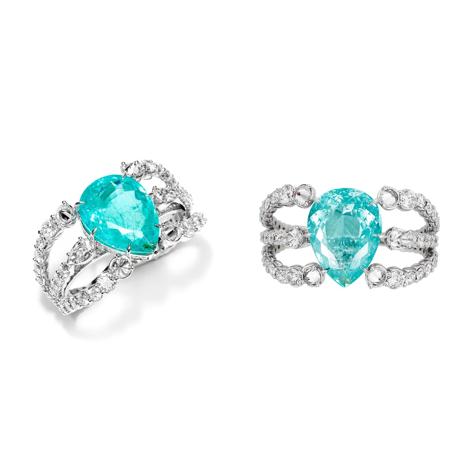 Ara Vartanian double-finger Paraiba tourmaline ring