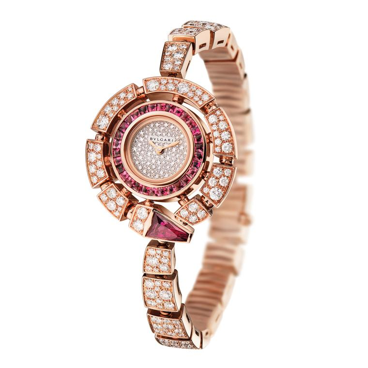 Serpenti Incantati watch with diamonds and rubellites