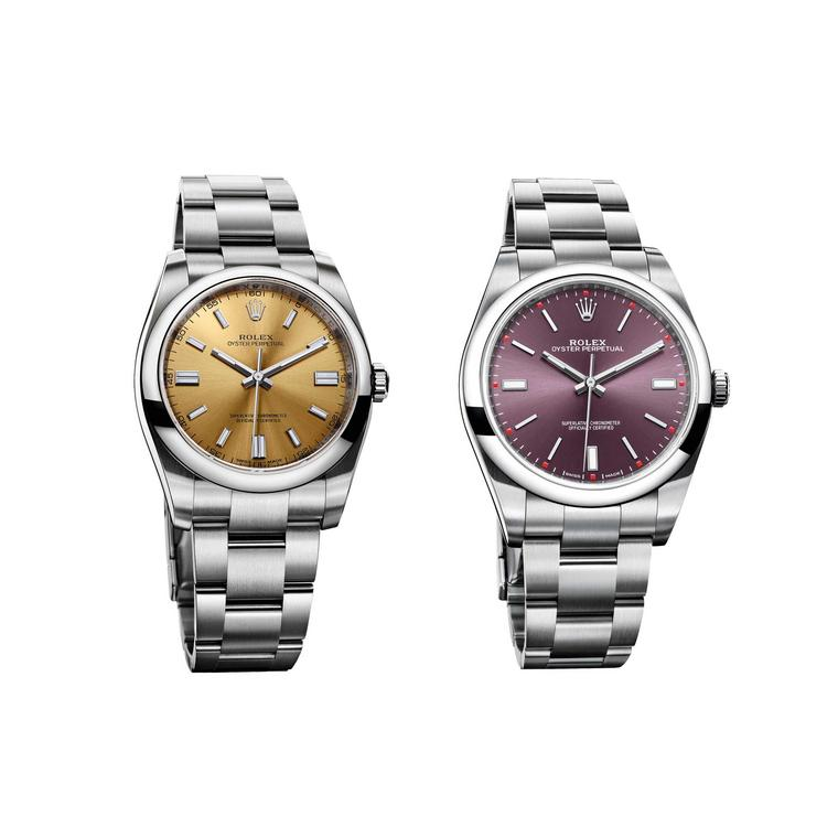 Rolex Oyster Perpetual white and red grape watches