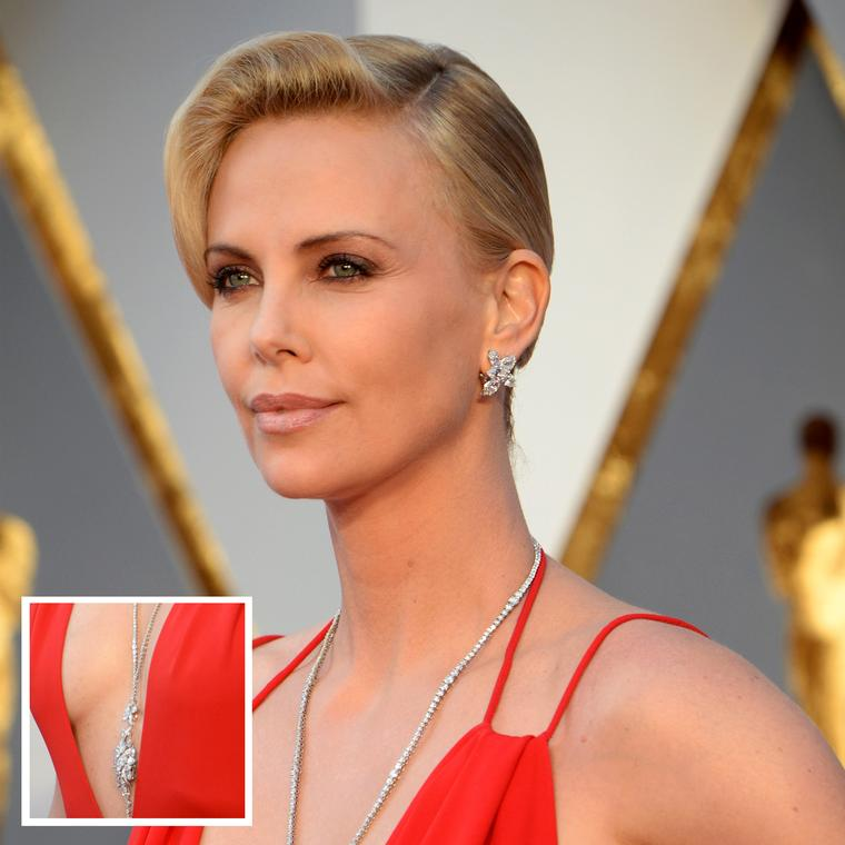 Charlize Theron in a Harry Winston diamond sautoir