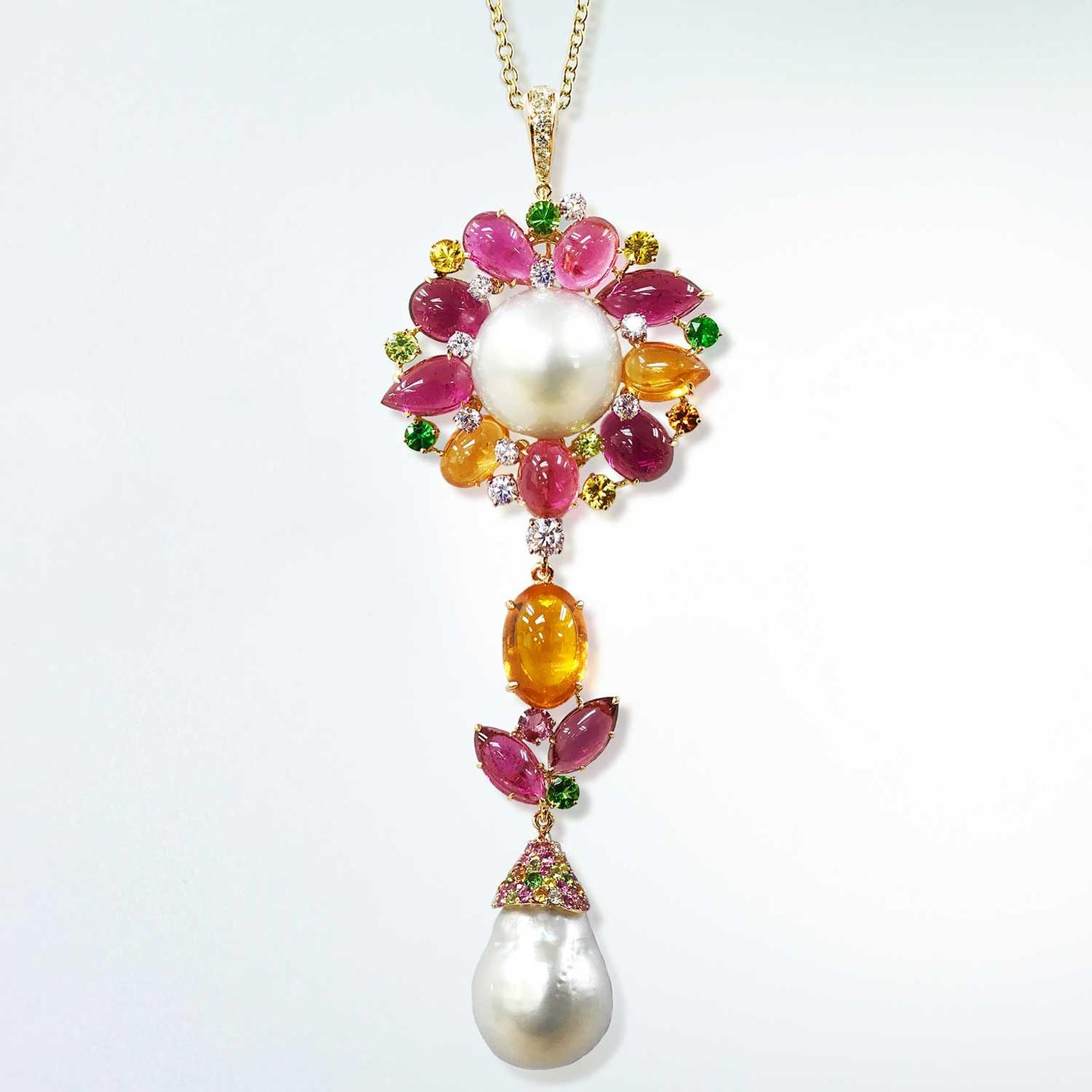 Margot McKinney floral pendant with South Sea pearl, rubellite and mandarin garnet