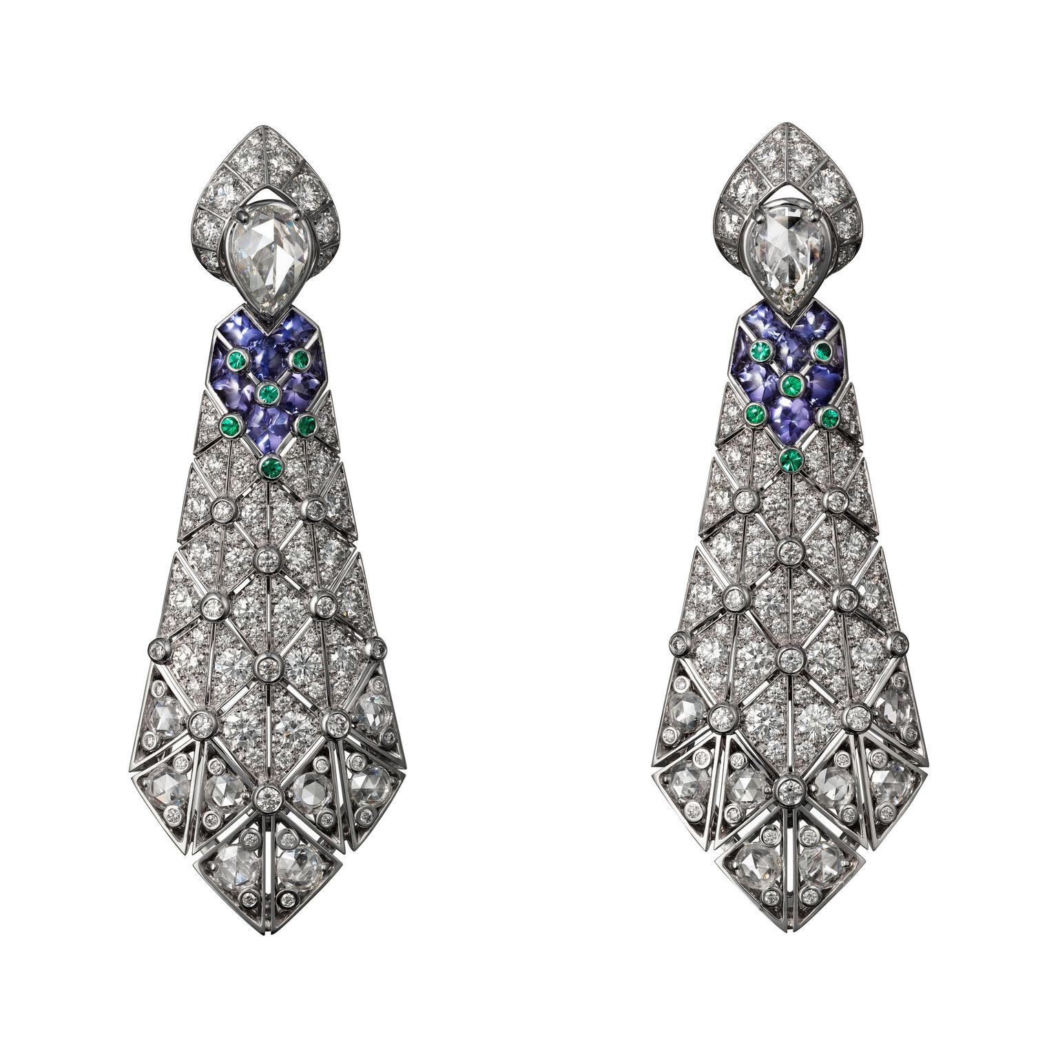 Cartier Étourdissant purple sapphire, emerald and diamond earrings