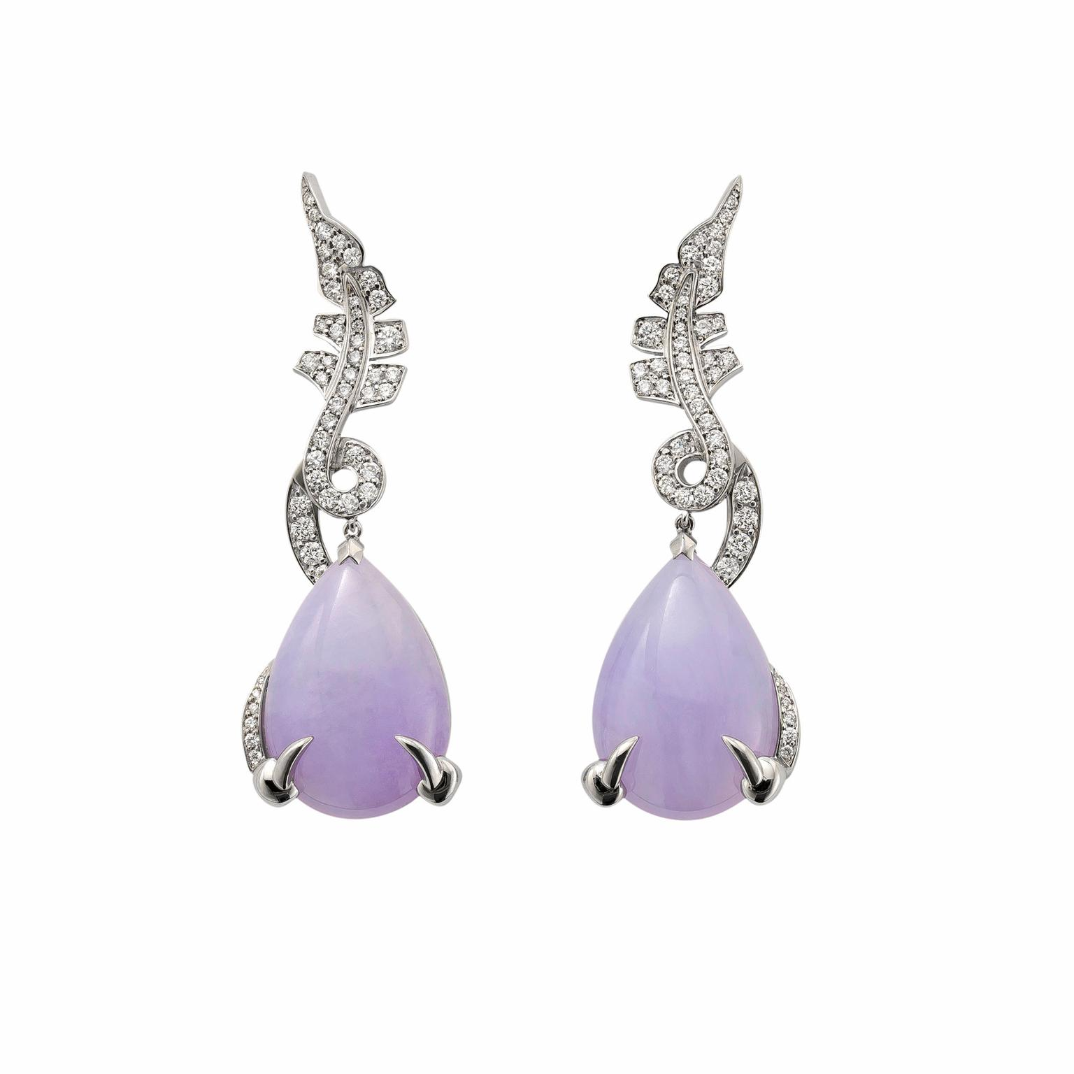 David Marshall lavender jade Dragon earrings