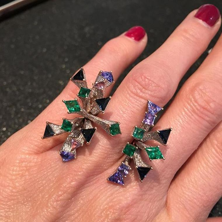 Leyla Abdollahi mixed gemstone open ring