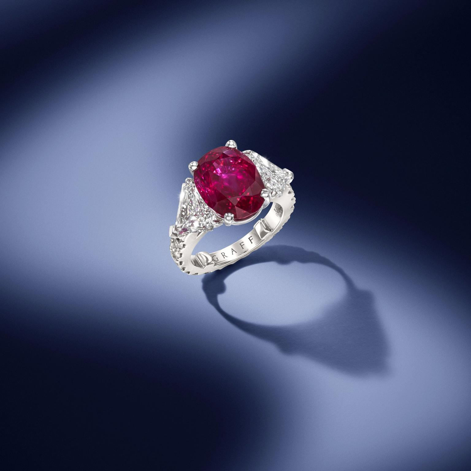 Graff Burmese ruby and diamond ring