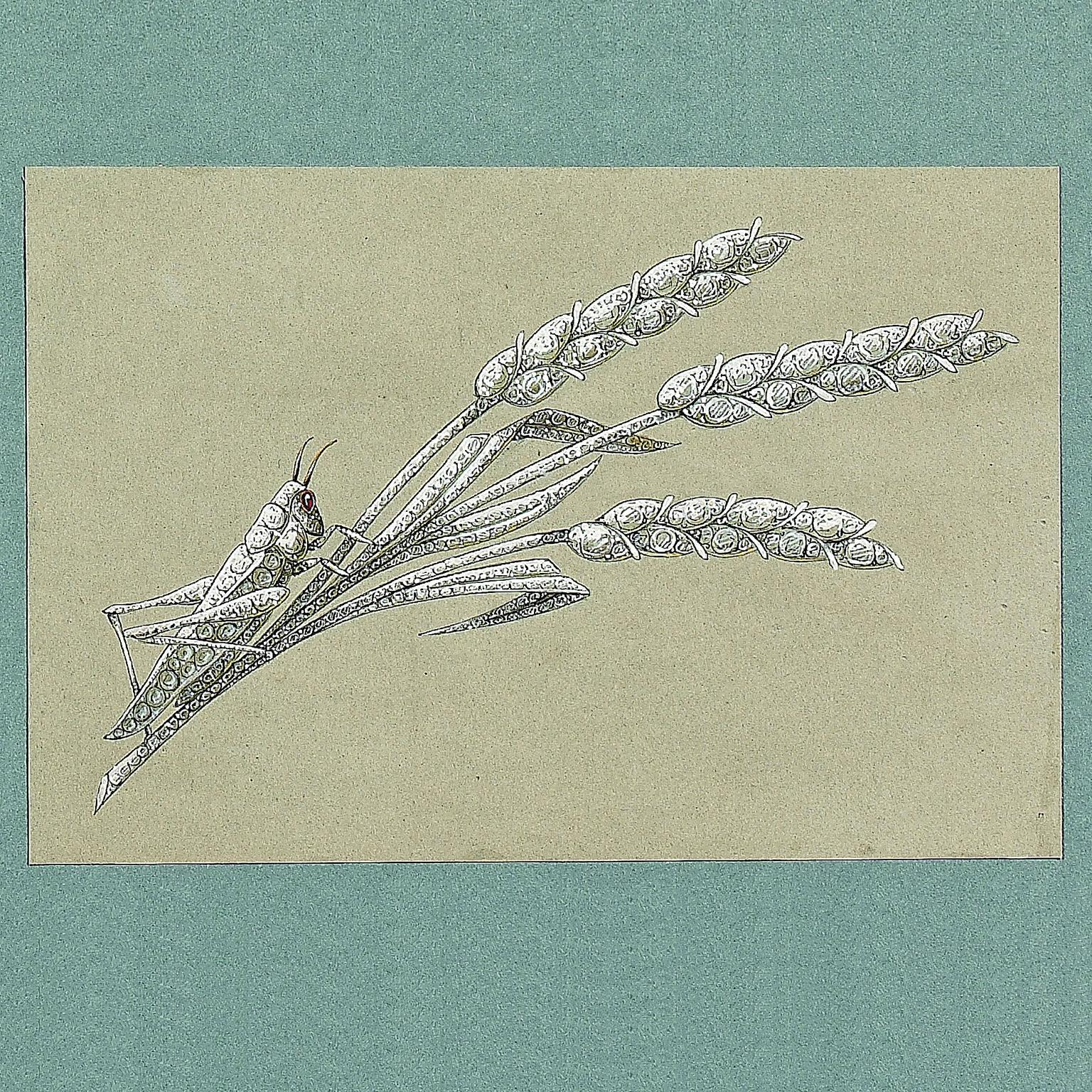 Preparatory sketch of a grasshopper on a sheaf of wheat brooch