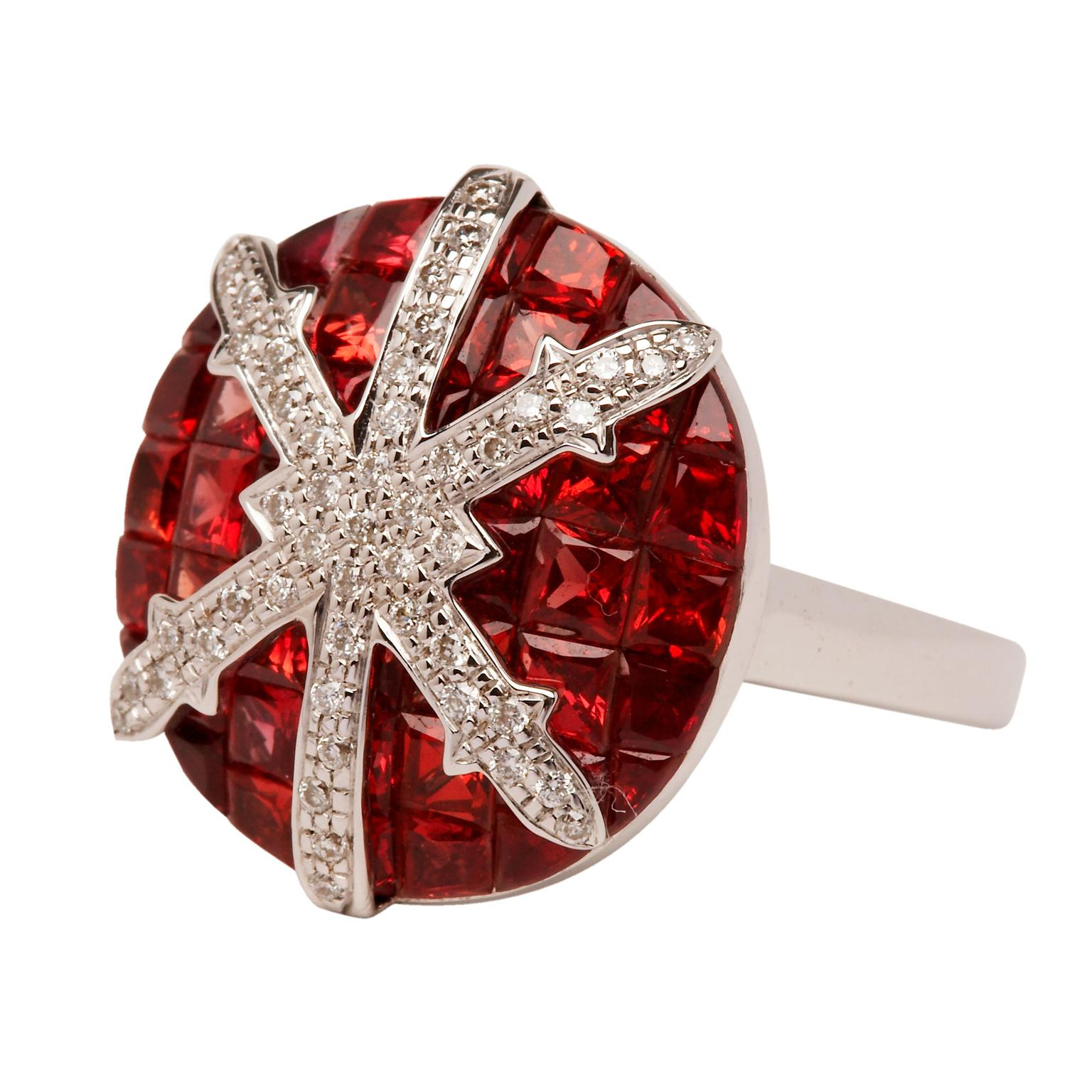 Stenmark red sapphire and white diamond ring