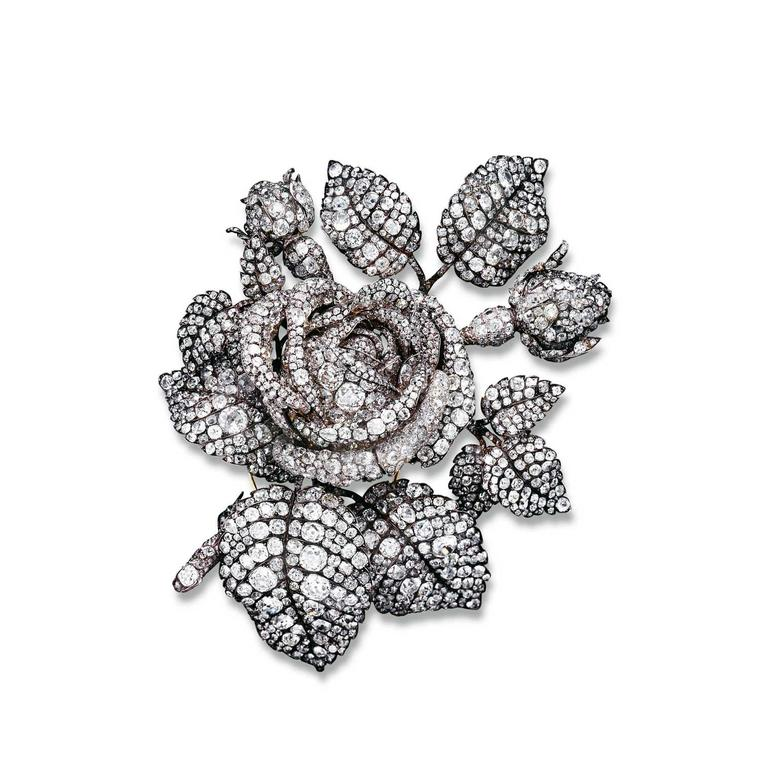 Mellerio dits Meller mid 19th century diamond rose brooch commissioned by Princess Mathilda