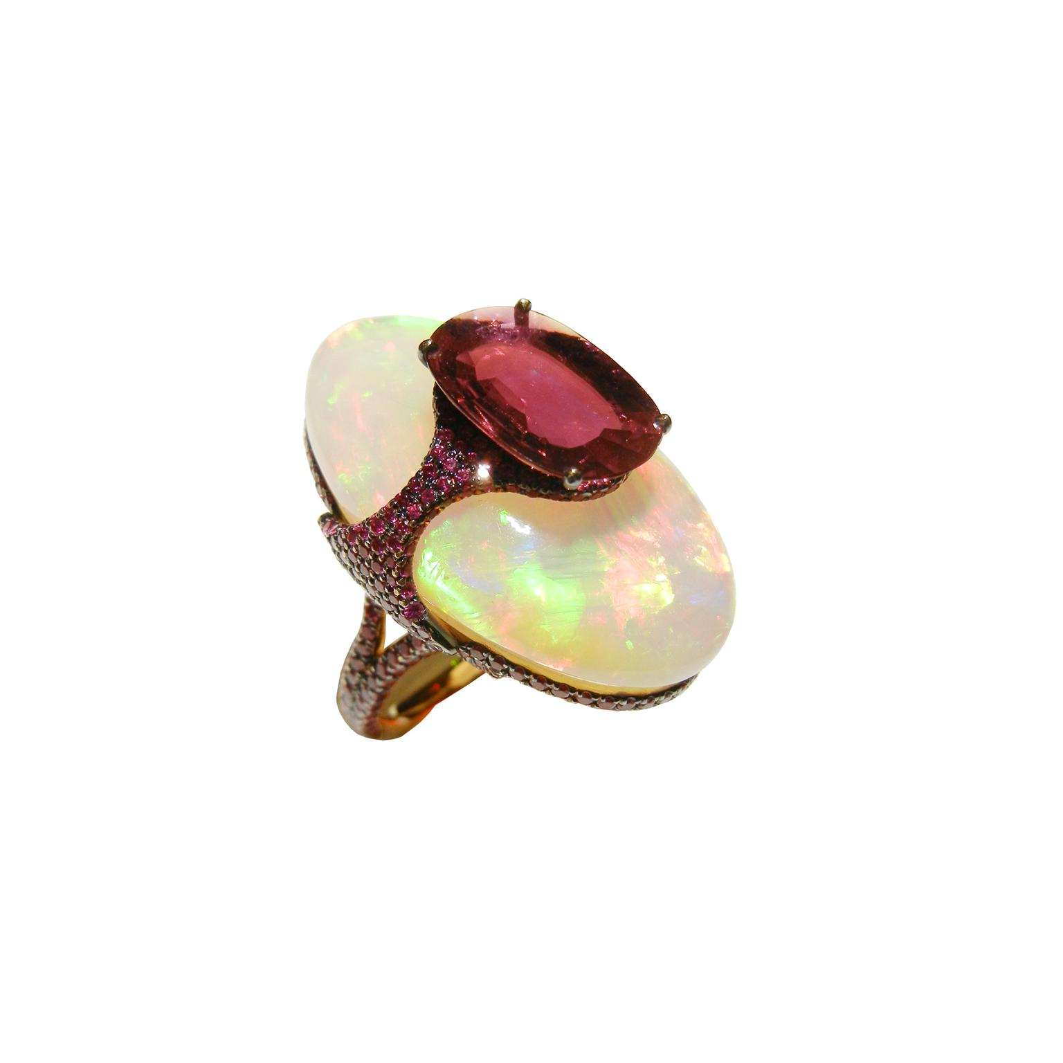 Boghossian ruby and opal kissing ring