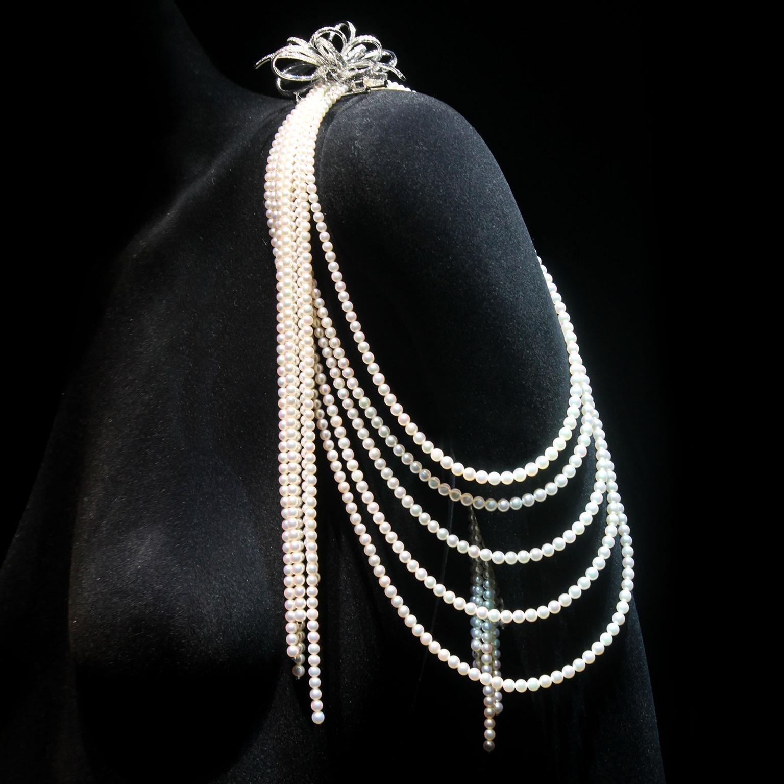 Mikimoto pearl shoulder jewel with diamond brooch
