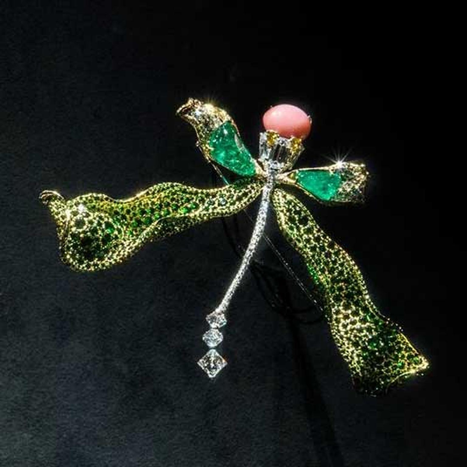 Cindy Chao Black Label Masterpiece 2018 dragonfly emerald brooch