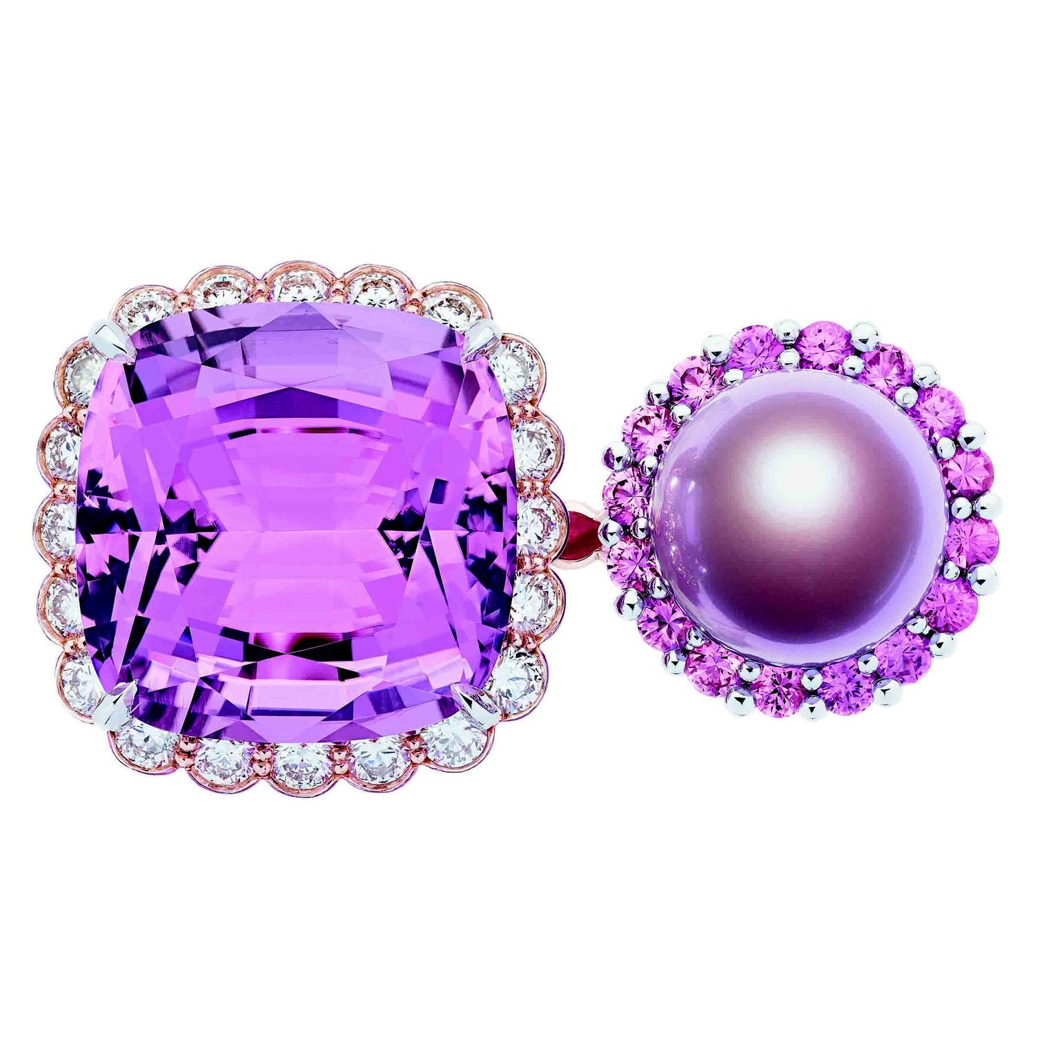 Dior et Moi high jewellery ring with a purple pearl