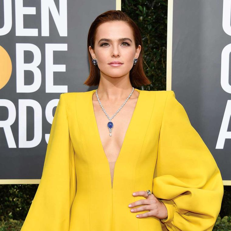 Zoey Deutch Golden Globes Harry Winston jewels