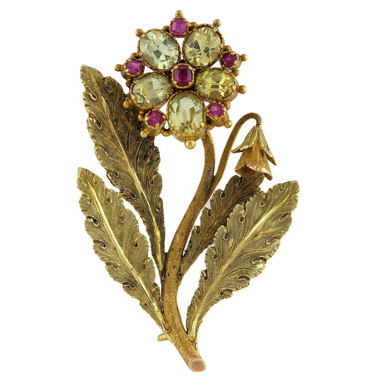 Antique brooches gold single bloom brooch from Sue Brown Jewels