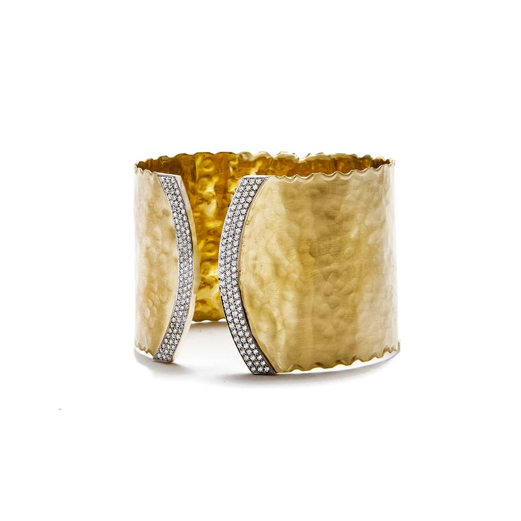 Gold cuff with white diamond pavé