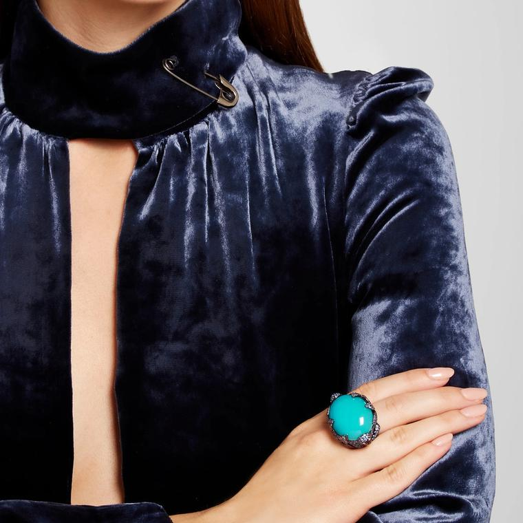 Lydia Courteille blue agate cocktail ring