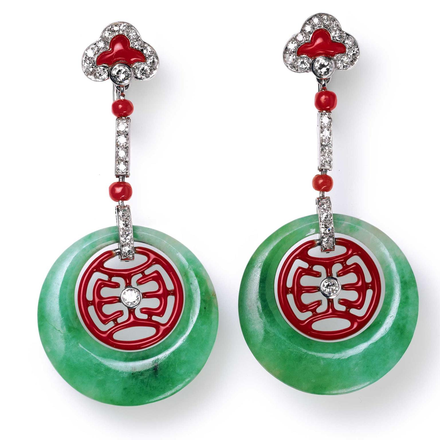Cartier Collection jade and coral ear pendants